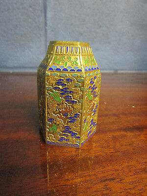 small Chinese Hexagonal Cloisonne Dragon Pot