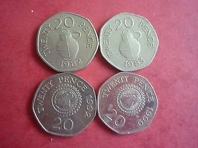 GUERNSEY - 4 x GOOD COLLECTABLE 20 PENCE COINS - 1982 (1ST ISSUE),1983,1992,1999