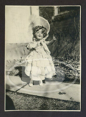 1930s Original Small Snapshot of Composition Shirley Temple Little Colonel Doll