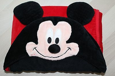 Ln Nearly New Disney Baby Puppet Head Hooded Towel Mickey Mouse Black Red