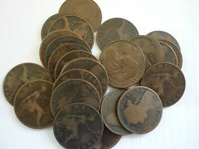 GT BRITAIN - 25 x COLLECTABLE CIRCULATED BRONZE VICTORIAN PENNIES