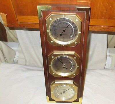 Springfield Made In U.s.a. Thermometer Barometer Humidity Temperature Wood Brass
