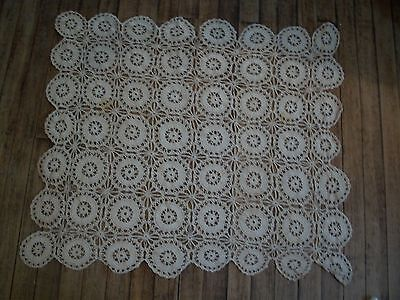 """Antique Hand Crochet Table Cover  31"""" x 36"""""""