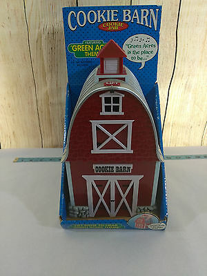 "Barn Cookie Jar Plays ""Green Acres Theme"" When Opened Red White Gray 2000"