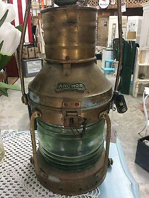 Antique Brass Anchor Ship Lantern With Original Glass Wired For Use As A Lamp