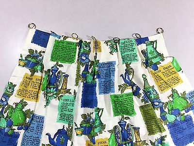 Vintage Mid Century Kitchen Curtain Blue Green Floral Recipes 1960s