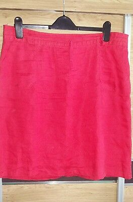 ladies red m&s linen skirt size 16