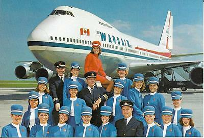 Wardair Boeing 747 postcard, Jumbo Jet and crew on tarmac, Canada