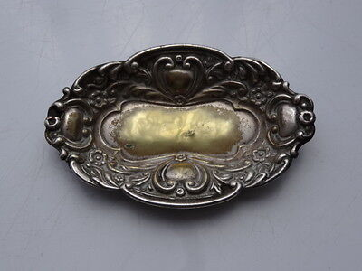 Small Ornate Silver Plated Antique Salt Dish