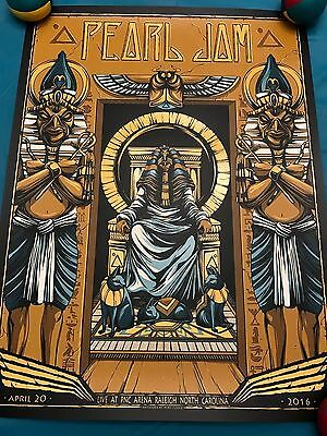 PEARL JAM 4/20/16 Raleigh North Carolina Poster Unstamped CANCELLED Show Fudge