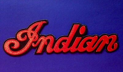 """INDIAN MOTORCYCLE EMBROIDERED """"INDIAN SCRIPT"""" PATCH 5"""" x 1 1/2"""" ~ PRISTINE!"""