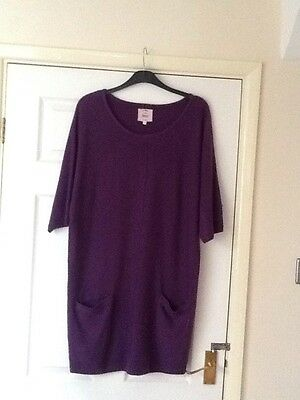 Ladies New Look Purple Longline Jumper Tunic Size 14