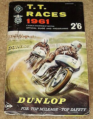 TT Isle of Man Motorcycle Racing Official Programme June 1961 + map & score card