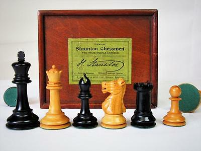 EARLY 20th  C. JAQUES LONDON  CHESS SET EBONY KING 80 mm +ORIGINAL  BOX NO BOARD