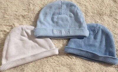 Baby Boy Set Of Three Newborn Hats Size 0-6 Blue & White