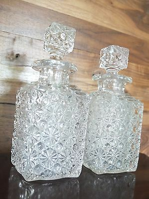 Pair of Vintage Cut Glass Decanters