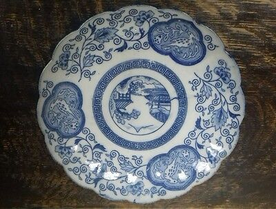 antique chinese blue and white plate, scallop edge