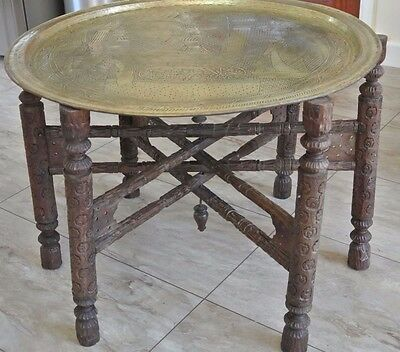 Vintage Moroccan/Indian Brass Tray Folding Table Carved legs