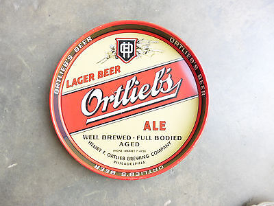 1940s Ortlieb Ale Lager Beer Phildelphia Brand Tin Litho Serving Tray Original