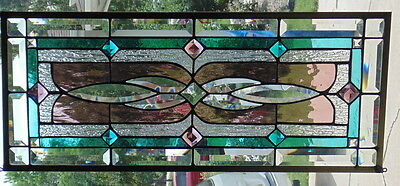 Stained Glass window hanging 28 X 11 3/34""