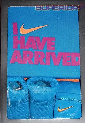 New Nike Infant Baby Size 0-6 Month 3 Piece Boxed Set Blue