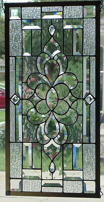 """Stained Glass window Beveled hanging 29 1/2 X 15"""""""
