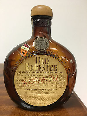 1940s Old Forester Bourbon Whiskey Bottle  Brown Forman 4/5qt