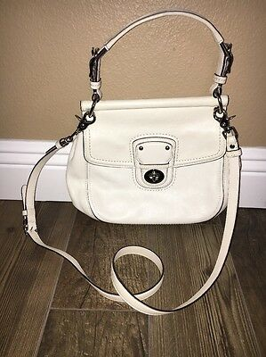 Coach White Leather Cross body Satchel  Purse
