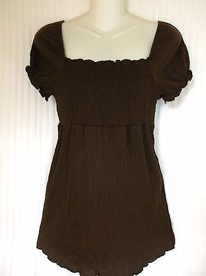NWT! - PLANET MOTHERHOOD-Brown Cotton Blend Short Sleeve Maternity Top -Size- S*