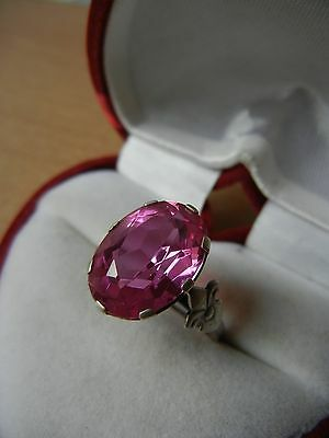 Vintage USSR RING SILVER 875 Star Size 8 pink STONE 5 g  SOVIET