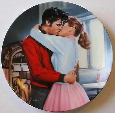 "1994 Elvis Presley ""Kissing Elvis"" 8 1/4"" Plate w/Box COA Young and Wild"