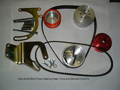 SMALL BLOCK CHEV DRIVE KIT...  Power Steering, Long Pump only.