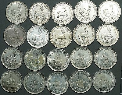 Roll of (20) 1948 - 1963 South Africa 5 Shillings, Silver