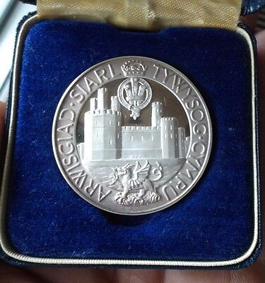 Prince Charles Investiture Silver Medal / Medallion. 1969 In Original Box.