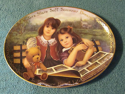 Sisters Share Soft Summer Dreams by Chantal Poulin-Bradford Exchange Oval Plate