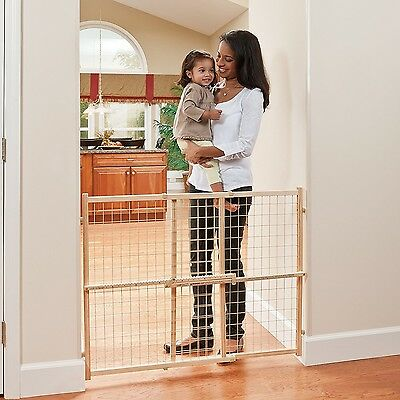 "31-50"" Baby Safety Protection Wood Gate Child Infant Pet Dog Cat Barrier Evenflo"