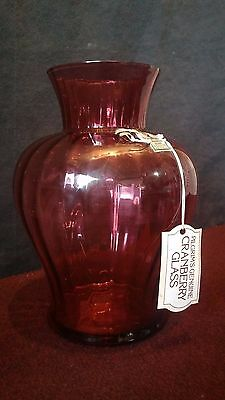 "Pilgrim's Genuine Cranberry Glass Vase 9"" Optic Iridescent Sticker & Tag"