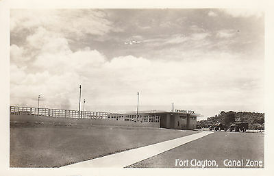 Pool Fort Clayton Canal Zone US Army Base Panama Canal Vintage B/W RPPC Postcard