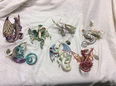 Lot Of 7 Ashton-Drake Galleries Dragons of the Crystal Cave Ornaments
