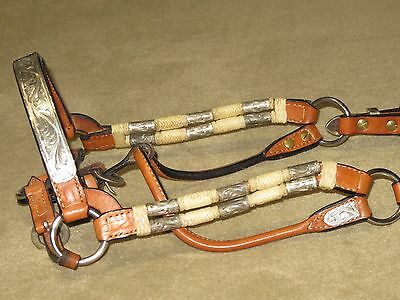 LIGHT USE~Flashy DALE CHAVEZ Western SILVER FERRULE & RAWHIDE Show Halter~HRS SZ