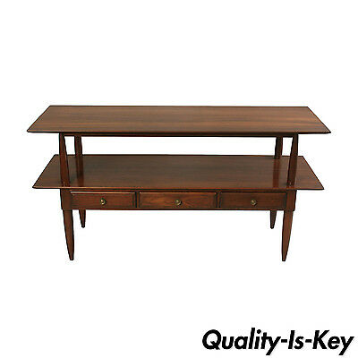 Vtg Willett Transitional Mid Century Modern Cherry Wood Server Table Console 56""