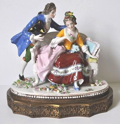 Vintage Porcelain Figurine with Brass Base
