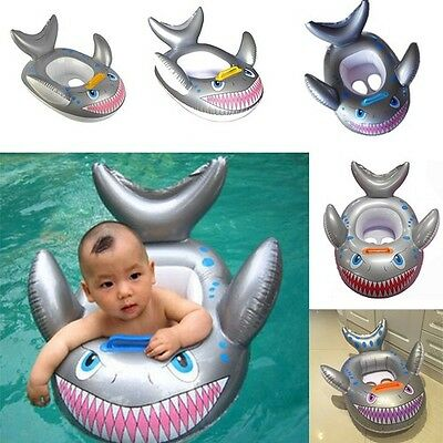Shark Shaped Inflatable Baby Infant Toddler Swim Seat Float Fish Swimming Ring