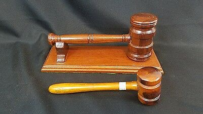 2 Vintage Gavels Wooden Judge Lawyer Chairman Auctioneer