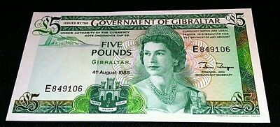 GIBRALTAR GOVERNMENT FIVE £5 POUND NOTE 1988 P 21b GEM UNCIRCULATED