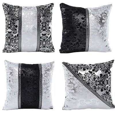 Vintage Black Silver Throw Pillow Case Cushion Cover Sofa Home Office Decorative