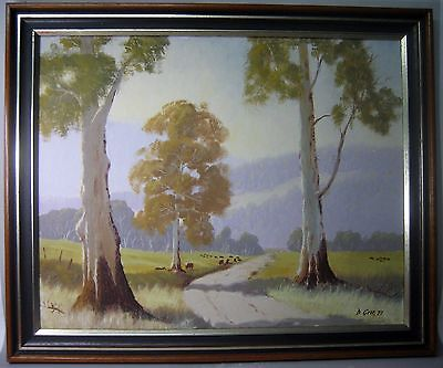"""Sunny afternoon"" 1980s framed landscape oil painting, signed"