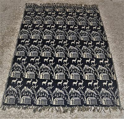 Antique Coverlet Deer Houses Lightning Trees Mountain Design  Rare Pattern