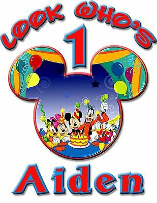 Personalize Custom Mickey Mouse 1st Birthday T Shirt Party Gift Baby Name - Face