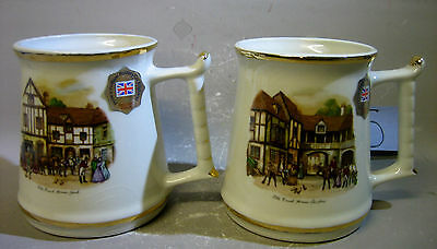 Pair Prince William Pottery exclusive edition mugs